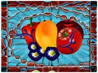 Art Tile with Fruit, Veg and Flower Design
