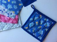 Potholder made from mother's old aprons and batting material