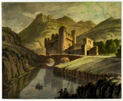Landscape.with River, Castle, and Figures, 1797 by Robert Adam