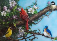 """""""Cardinal""""  Four Birds on a Tree Branch   Courtesy of MHS Licensing"""