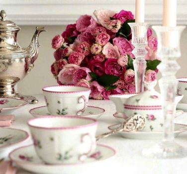Silver And Pink Roses Tea