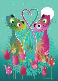 Kitties in Tulips