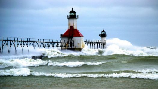 Dual Lighthouses in Rough Seas-North Pier ,St. Joseph, Michigan