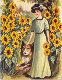 """Sunflower Girl with Dog"" Vintage Poster"