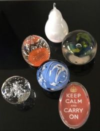 Glass paperweight collection.