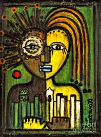 """Moroccan City Lovers  African Tribal Mask"" a painting by Rosemary Lim"