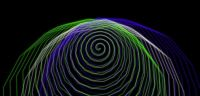 spiral - blue, green, white overlapping