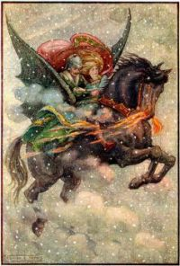 Flying horse in snow