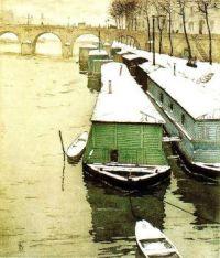 T.F. Simon:  Houseboats moored along riverside, bridge beyond. 1908.