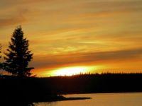 Autumn Sundown Lake Louise Alaska