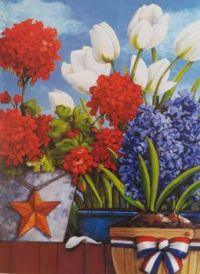 Red White And Blue Flowers  and bulbs Planted in different types of pots