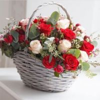 Perfect  Red and White Rose Basket.