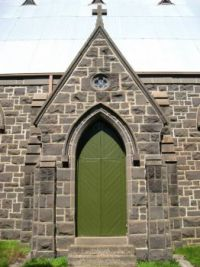 Green door - Bluestone Church