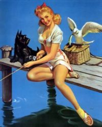 Themes Vintage illustrations/pictures - 1940s Pin-Up Girl Fishing with Scottish Terrier Dog