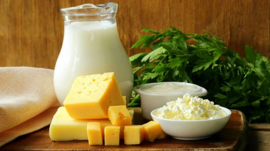 Dairy products including milk, cheese, sour cream and cottage cheese