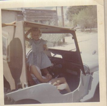 Jeanne in Aggies Jeep