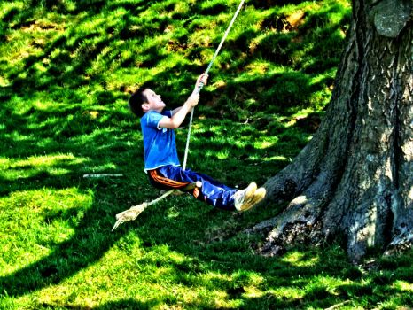 HDR of Boy on a swing - 31st May 2009