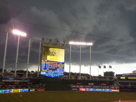 Thunderstorm Building Over Kaufman Stadium, Kansas City, Missorui