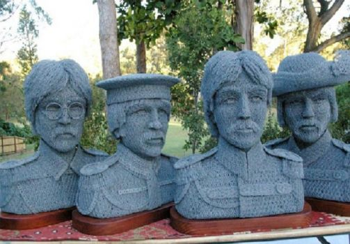 Chicken Wire Art  -  Beattles ... Sgt. Pepper Era