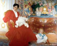 Carl Larsson Portrait Painting of Mrs. Dora Lamm and Her Two Sons