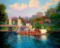 Swan boats in the spring