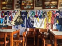 Flags at Peter Cafe Sport, Horta, Faial, Azores, Portugal.