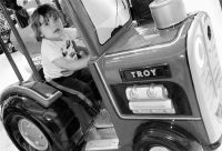 A Boy & His Favorite Tractor _B&W