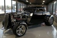 1933 Ford 3 window coupe chopped w cycle fenders & Hemi w 2x4bbl