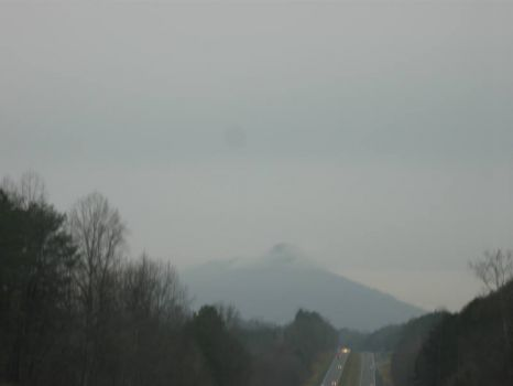 Pilot Mountain, NC in the haze, on 1/1/13