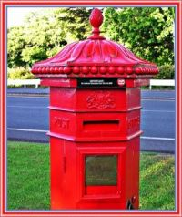 Old red mail box.