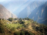Village in Nepal while hiking in the Himalayas.
