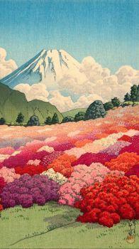 Kawase Hasui, View of an Azalea Garden and Mt. Fuji