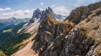 View of the Alpe di Seceda on sunny side of Val Gardena, Dolomites, Italy