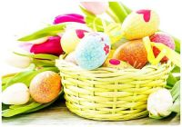 Easter Egg Ornaments in a Basket with a Side of Tulips