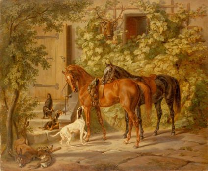 horses at the porch