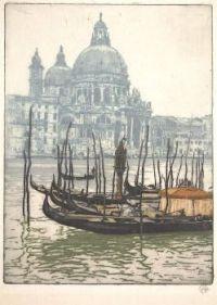 Untitled Etching (Gondolas Before Santa Maria della Salute, Venice)