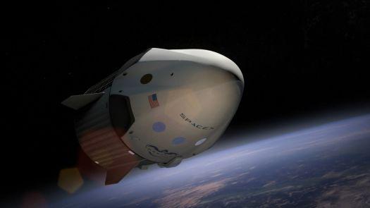SpaceX Dragon V2 in flight (artist rendering)