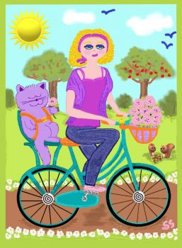Basil and Mom Go for a Bike Ride