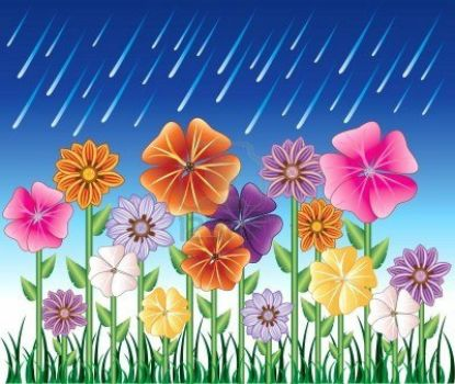 7091822-illustration-of-a-spring-day-2-with-rain-and-flower-garden-with-grass