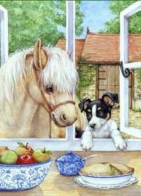 Dog and horse see yummy food..xxx