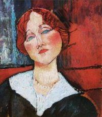 Redhead Woman with Blue Eyes     -  Amedeo Modigliani Italian, 1884-1920