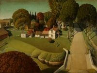 Grant Wood - The Birthplace of Herbert Hoover, West Branch, Iowa (1931)