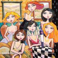 Charles Kaufman Art - Six Women, One Bottle of Wine & No Glasses