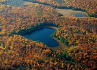 Heart-shaped lake near Ompah, Ontario