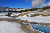 Thermal features and snow, Yellowstone National Park