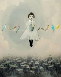 girl with birds by Louise from dansedelune