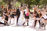 Bride & Groom with dancers