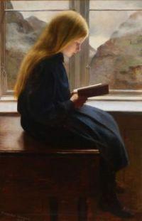 """""""A Little Girl Reading,"""" 1900, by Johan Gudmundsen-Holmgreen."""
