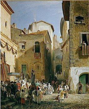 A Party at Genazzano, 1865 by Oswald Achenbach