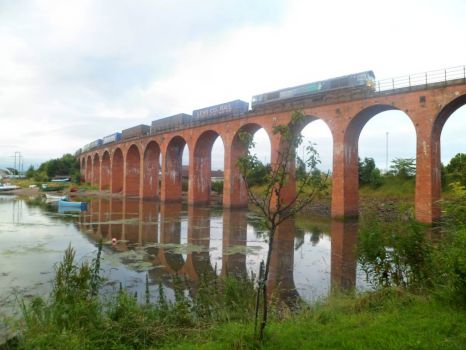 Scotland: Montrose - Train Crossing Bridge